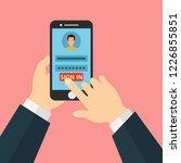 hand hold smartphone  finger... | Shutterstock .eps vector #1226855851