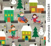seamless pattern with houses... | Shutterstock .eps vector #1226863684