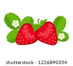 strawberry berries with leaves... | Shutterstock .eps vector #1226890354