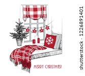christmas window seat.  window ... | Shutterstock .eps vector #1226891401