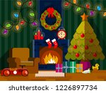 living room with fireplace.... | Shutterstock .eps vector #1226897734