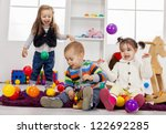 kids playing in the room   Shutterstock . vector #122692285