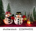 lovely snowman flat lay on pink ... | Shutterstock . vector #1226944531