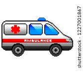 pixel art ambulance car... | Shutterstock .eps vector #1227001867