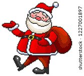 pixel art funny santa detailed... | Shutterstock .eps vector #1227001897