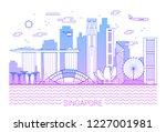 singapore city line art vector... | Shutterstock .eps vector #1227001981