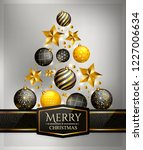 christmas tree made of baubles... | Shutterstock .eps vector #1227006634