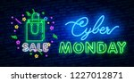 cyber monday neon sign  bright... | Shutterstock .eps vector #1227012871
