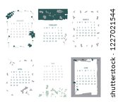 floral 2019 calendar. yearly... | Shutterstock .eps vector #1227021544
