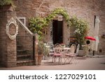 cafe. small patio. tables and... | Shutterstock . vector #1227029101