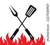 spatula and fork icon. bbq and...   Shutterstock .eps vector #1227030907