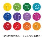 zodiac signs flat buttons. set...   Shutterstock .eps vector #1227031354