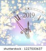 golden shiny bokeh new year... | Shutterstock .eps vector #1227033637