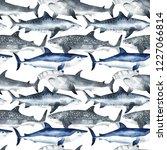 seamless watercolor pattern... | Shutterstock . vector #1227066814