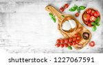 mozzarella cheese and fresh... | Shutterstock . vector #1227067591