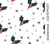 holly berry christmas pattern... | Shutterstock .eps vector #1227079237