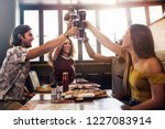 group of friends making a toast ... | Shutterstock . vector #1227083914