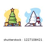 christmas trees and snowman... | Shutterstock .eps vector #1227108421