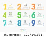 nine colorful numbers or... | Shutterstock .eps vector #1227141931