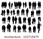couples silhouettes   Shutterstock .eps vector #122715679