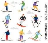 set of adult people skiing and... | Shutterstock .eps vector #1227168304