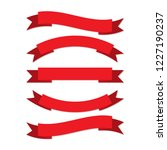 set of red ribbons in flat... | Shutterstock .eps vector #1227190237