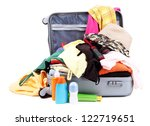 open silver suitcase with... | Shutterstock . vector #122719651