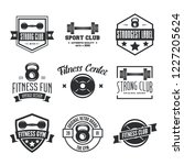set of fitness emblems  signs ...   Shutterstock .eps vector #1227205624