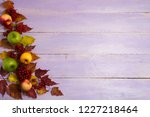 fall greeting with ripe yellow... | Shutterstock . vector #1227218464