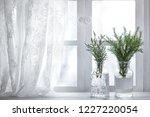 fir branch in vase near window...   Shutterstock . vector #1227220054