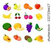 fruits set isolated on white... | Shutterstock .eps vector #1227236617