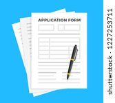 application form and pen. claim ... | Shutterstock .eps vector #1227253711
