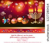 happy hanukkah invitation card... | Shutterstock .eps vector #1227280414