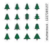 christmas tree icon set flat... | Shutterstock .eps vector #1227285157