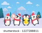 christmas penguins on snowy... | Shutterstock .eps vector #1227288811