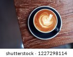 top view of cafe latte with ... | Shutterstock . vector #1227298114