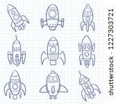 spaceship set vector | Shutterstock .eps vector #1227303721