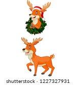 cartoon christmas deer wearing... | Shutterstock .eps vector #1227327931