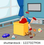 cartoon little boy with toys in ... | Shutterstock .eps vector #1227327934