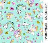 pattern with unicorns  rainbow  ...   Shutterstock . vector #1227333814