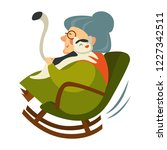 old woman on retirement sitting ... | Shutterstock .eps vector #1227342511