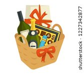 gift basket full of chocolates... | Shutterstock .eps vector #1227342877
