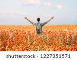 happy traveler man with... | Shutterstock . vector #1227351571