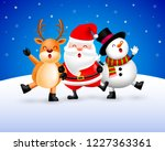 funny christmas characters...   Shutterstock .eps vector #1227363361