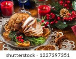 roasted pork ham served with... | Shutterstock . vector #1227397351