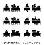 different family members using... | Shutterstock .eps vector #1227424441