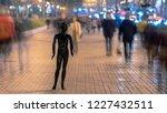 the black mannequin standing on ... | Shutterstock . vector #1227432511