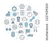 sport poster template. thin... | Shutterstock .eps vector #1227439324