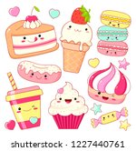 set of cute sweet icons in... | Shutterstock .eps vector #1227440761