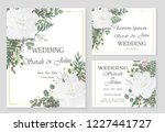 wedding invitation leaves and... | Shutterstock .eps vector #1227441727